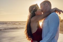 Affection, Backlit, Beach, Couple Stock Images