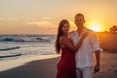 Affection, Beach, Couple Stock Images
