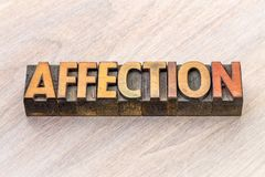 Affection word abstract in wood type Royalty Free Stock Image