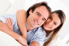 Affectionate couple at home Royalty Free Stock Photos