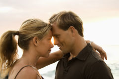 Affectionate Couple By the Ocean Stock Image