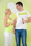 Affectionate couple painting home Royalty Free Stock Photography