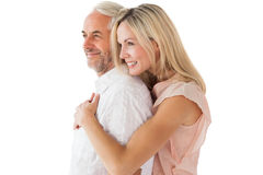 Affectionate couple standing and hugging Royalty Free Stock Photo