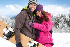 Affectionate couple on winter holiday. Young Affectionate couple enjoying in winter holiday Royalty Free Stock Photo