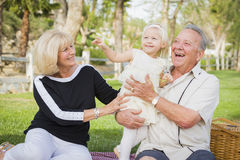 Affectionate Granddaughter and Grandparents Playing At The Park Royalty Free Stock Photos