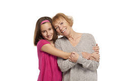 Affectionate grandmother and granddaughter Royalty Free Stock Images