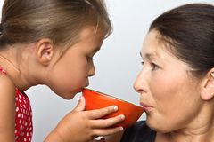Affectionate grandmother and her cute little granddaughter Royalty Free Stock Photography