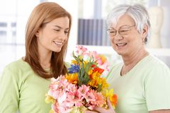 Affectionate greeting at Mother's day Stock Photography