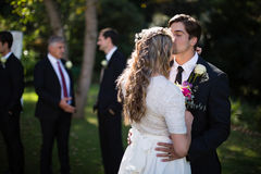 Affectionate groom kissing bride on forehead. In park Stock Photos