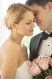 Affectionate Groom About To Kiss Bride. Closeup of affectionate young groom about to kiss bride Stock Photography