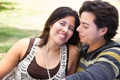 Affectionate Hispanic Couple Portrait Outdoors Royalty Free Stock Images