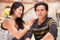 Affectionate Hispanic Couple Portrait Outdoors Stock Images