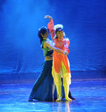 Affectionate hug-The dance drama The legend of the Condor Heroes. In December 2, 2014, a large Chinese dance drama the legend of the Condor Heroes for the first Royalty Free Stock Photos