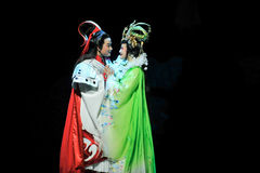 Affectionate hug-Jiangxi OperaBlue coat Stock Images