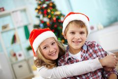 Affectionate kids Stock Photo