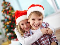 Affectionate kids Royalty Free Stock Images