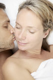 Affectionate kiss. An affectionate kiss in the morning Stock Photography