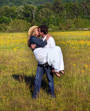 Affectionate Moment in Field Royalty Free Stock Images