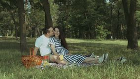Affectionate pregnant family enjoying picnic in park. Attractive brunette pregnant woman drinking orange juice and talking with her affectionate husband while stock video
