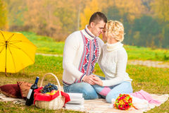 Affectionate relationship of young couples. In nature Royalty Free Stock Photos
