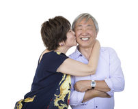 Affectionate Senior Chinese Couple  on White Royalty Free Stock Photos