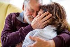 Affectionate senior couple in love sitting on sofa indoors at home, hugging. An affectionate senior couple in love sitting on sofa indoors at home, hugging royalty free stock photos