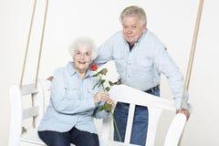 Affectionate senior couple Stock Images