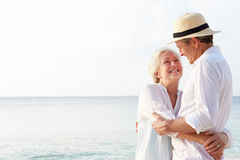 Affectionate Senior Couple On Tropical Beach Holiday Royalty Free Stock Image