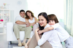 Affectionate siblings Stock Images