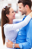 Affectionate young couple. Embracing, smiling Royalty Free Stock Images