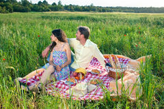Affectionate young couple on a summer picnic Stock Photography