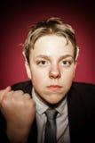 Affective teenage boy close-up portrait in studio Stock Photo