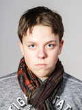 Affective teenage boy portrait in studio Royalty Free Stock Photos