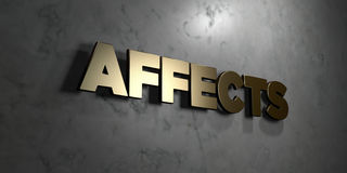 Affects - Gold sign mounted on glossy marble wall  - 3D rendered royalty free stock illustration Royalty Free Stock Image