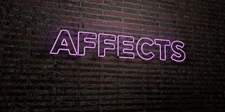 AFFECTS -Realistic Neon Sign on Brick Wall background - 3D rendered royalty free stock image Stock Image