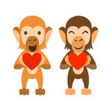 Affen, die Herzen halten Stockbilder