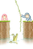 Affen umgeben durch Krokodile Stockfotos
