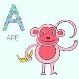 Affenkindervektorillustration des Alphabetbuchstaben A Stockfoto