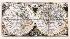 1725 Afferden Antique Map of the World in Hemispheres. It is a 18th century antique copper engraved map with hand color outlining and yellow frame and nice Royalty Free Stock Images