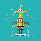 Affeschlagzeuger-Zirkusthema, Vektorillustration stock abbildung