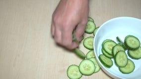 Affettare cetriolo e lattuga stock footage