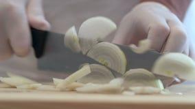 Affettare le cipolle bianche in mezzi anelli per uso successivo video d archivio