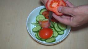 Affettare pomodoro e lattuga video d archivio