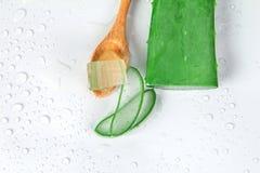 Affettata e la foglia di aloe fresco vera su fondo bianco, nazionali Immagini Stock