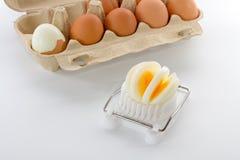 Affettatrice dell'uovo con una scatola di uova immagine stock libera da diritti