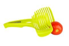 Affettatrice verde del pomodoro fotografie stock