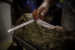 Affettatura del prosciutto di Parma di Istrian Immagine Stock