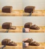 Affettatura della sequenza del pane Fotografia Stock Libera da Diritti
