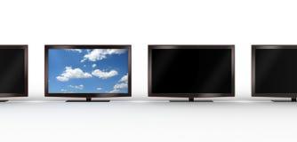 Affichage à cristaux liquides élégant TV restant à l'extérieur Photo stock