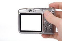 affichage à cristaux liquides blanc d'appareil-photo Photographie stock libre de droits